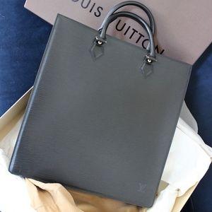 NEW Louis Vuitton Black Epi Leather Sac Plat Tote